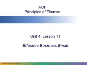 AOF Principles of Finance Unit 4 Lesson 11