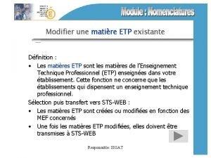 Modifier une matire ETP existante Dfinition Les matires