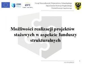 Urzd Marszakowski Wojewdztwa Dolnolskiego Departament Rozwoju Regionalnego Wydzia