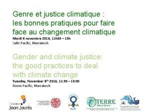 Genre et justice climatique les bonnes pratiques pour