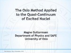 Oslo Seminar Oslo 6 December 2012 Measure particle