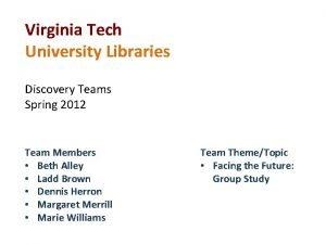 Virginia Tech University Libraries Discovery Teams Spring 2012