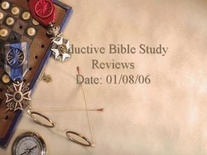 Inductive Bible Study Reviews Date 010806 Reviews on