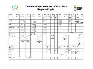 Calendario Vaccinale per la Vita 2014 Regione Puglia