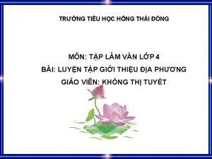 TRNG TIU HC HNG THI NG MN TP