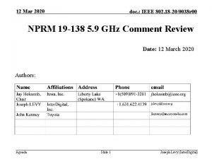 12 Mar 2020 doc IEEE 802 18 200038