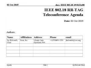 03 Oct 2019 doc IEEE 802 18 190131