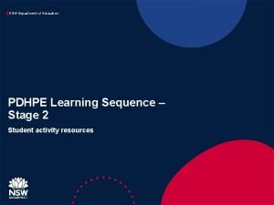 NSW Department of Education PDHPE Learning Sequence Stage