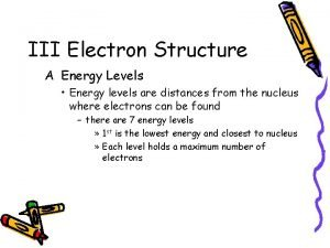 III Electron Structure A Energy Levels Energy levels