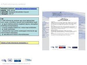 A Pall Informcis rendszer Internetes rendszer www pallo