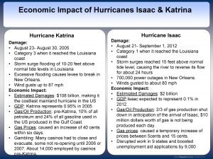 Economic Impact of Hurricanes Isaac Katrina Hurricane Katrina