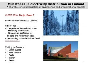 Milestones in electricity distribution in Finland A short