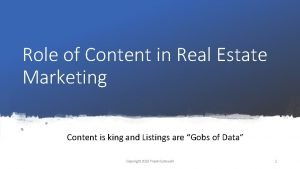 Role of Content in Real Estate Marketing Content