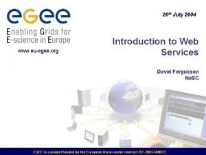 20 th July 2004 www euegee org Introduction