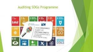 Auditing SDGs Programme Auditing SDGs Programme The main