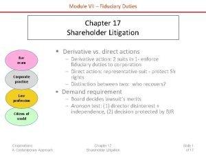 Module VII Fiduciary Duties Chapter 17 Shareholder Litigation