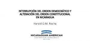 INTERRUPCIN DEL ORDEN DEMOCRTICO Y ALTERACIN DEL ORDEN