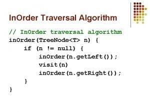In Order Traversal Algorithm In Order traversal algorithm