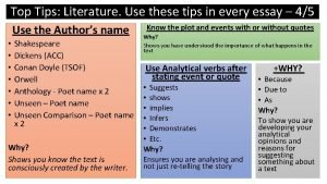 Top Tips Literature Use these tips in every