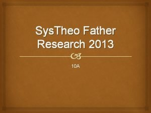 Sys Theo Father Research 2013 10 A Torah