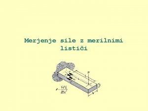 Merjenje sile z merilnimi listii Sestava merilne verige