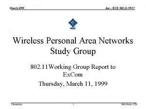 March 1999 doc IEEE 802 11 9957 Wireless