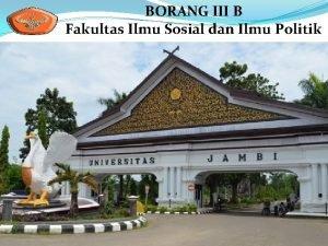BORANG III B Fakultas Ilmu Sosial dan Ilmu