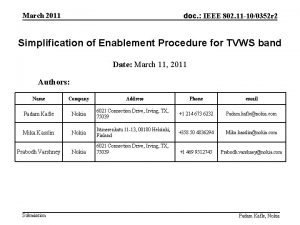 March 2011 doc IEEE 802 11 100352 r