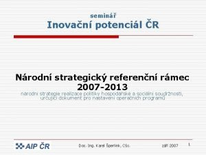 semin Inovan potencil R Nrodn strategick referenn rmec