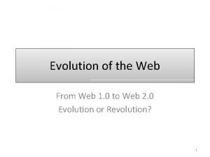 Evolution of the Web From Web 1 0