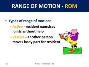 RANGE OF MOTION ROM Types of range of