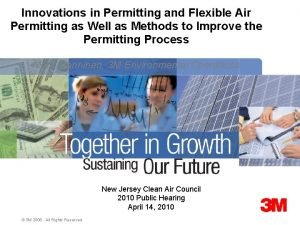Innovations in Permitting and Flexible Air Permitting as