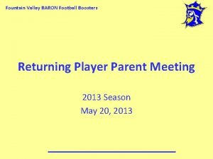 Fountain Valley BARON Football Boosters Returning Player Parent