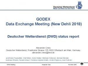 GODEX Data Exchange Meeting New Dehli 2018 Deutscher