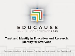 Trust and Identity in Education and Research Identity