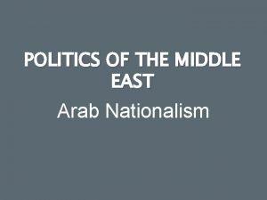 POLITICS OF THE MIDDLE EAST Arab Nationalism Arab