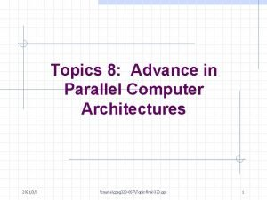 Topics 8 Advance in Parallel Computer Architectures 202133