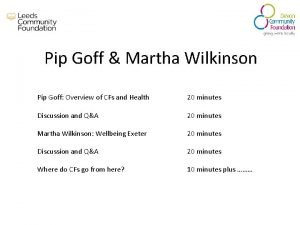 Pip Goff Martha Wilkinson Pip Goff Overview of