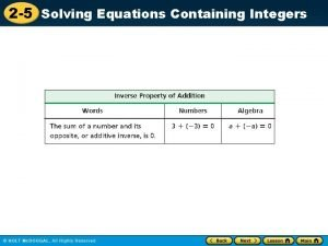 2 5 Solving Equations Containing Integers 2 5