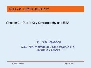 INCS 741 CRYPTOGRAPHY Chapter 9 Public Key Cryptography