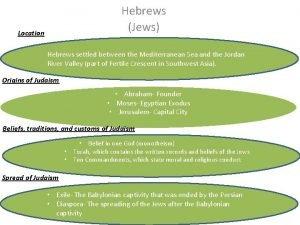 Hebrews Jews Location Hebrews settled between the Mediterranean