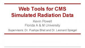Web Tools for CMS Simulated Radiation Data Kevin