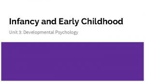 Infancy and Early Childhood Unit 3 Developmental Psychology