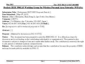 May 2013 Doc IEEE 802 15 13 0272