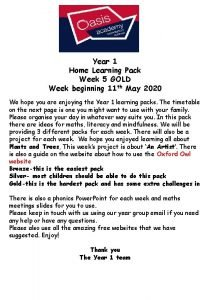 Year 1 Home Learning Pack Week 5 GOLD