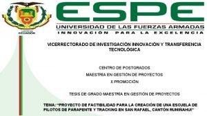 VICERRECTORADO DE INVESTIGACIN INNOVACIN Y TRANSFERENCIA TECNOLGICA PORTADA