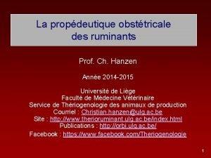 La propdeutique obsttricale des ruminants Prof Ch Hanzen