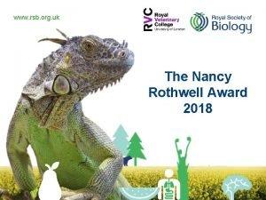 www rsb org uk The Nancy Rothwell Award