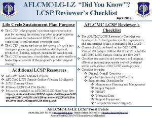 AFLCMCLGLZ Did You Know LCSP Reviewers Checklist April