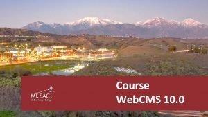 Course Web CMS 10 0 Access Web CMS